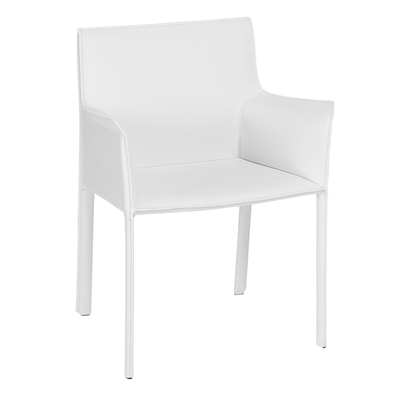 Sillon leather dining chair white