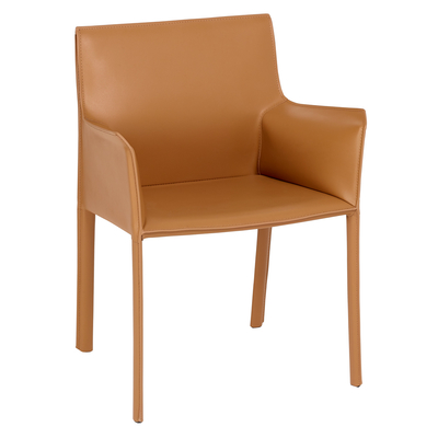 Sillon leather dining chair tan