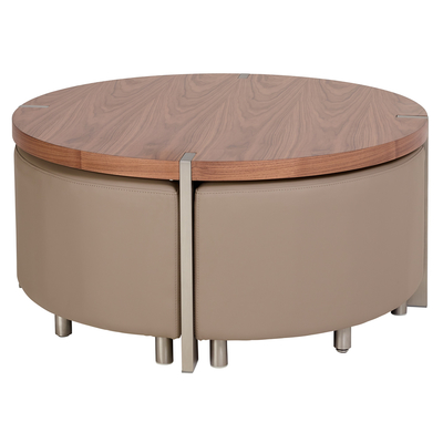 Rotunda coffee table with stools walnut and stone