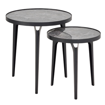 Luna set of side tables grey marble ceramic