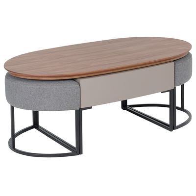 Pod coffee table with stools stone