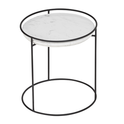 Anello marble side table black leg
