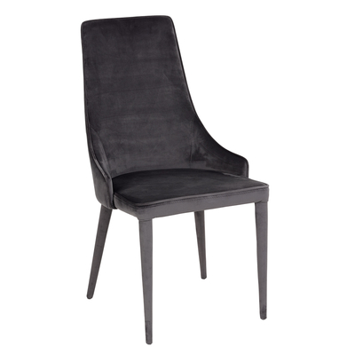 Tapered dining chair grey velvet
