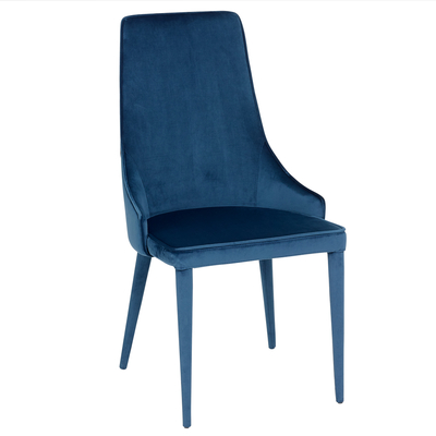 Tapered dining chair blue velvet