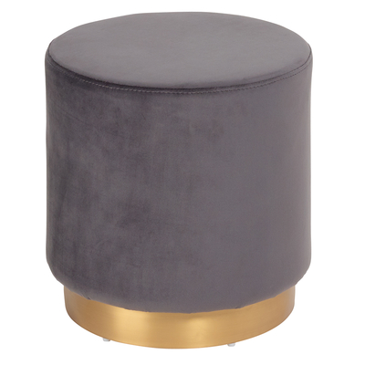 Duo stool grey velvet brass base