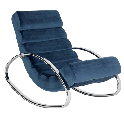 Ripple rocker with chrome legs blue velvet