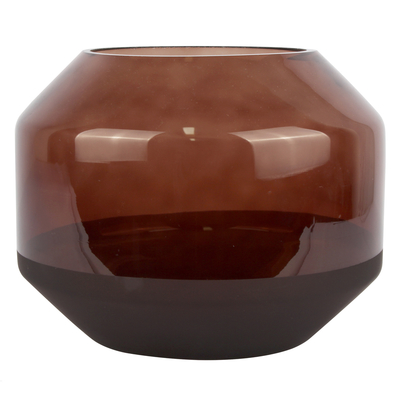 Ombre round glass vase brown