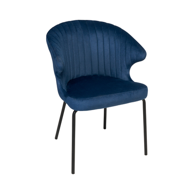 Pecten scallop dining chair blue distressed velvet