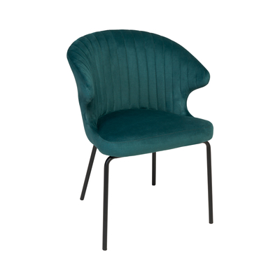 Pecten scallop dining chair green distressed velvet