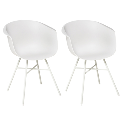 Vasca tub dining chair plastic white set of two