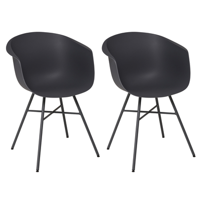 Vasca tub dining chair plastic charcoal grey set of two