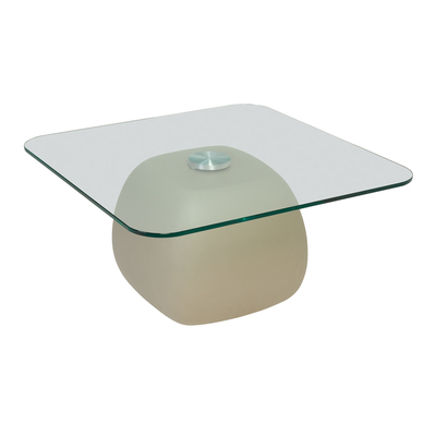 Ciot pebble coffee table clear glass top grey base