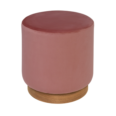 Duo stool dusky pink velvet walnut base