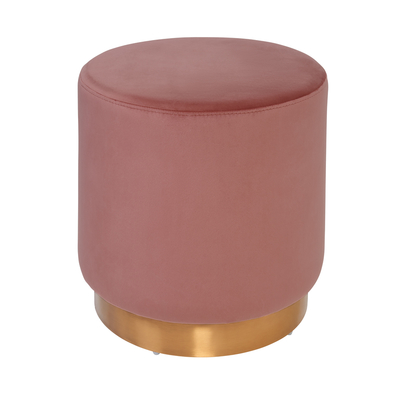 Duo stool dusky pink velvet brass base