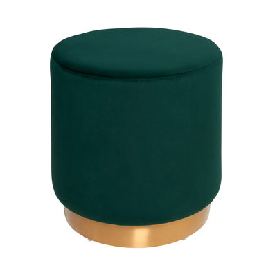 Duo stool green velvet brass base