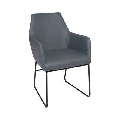 Trono dining chair grey faux leather black leg