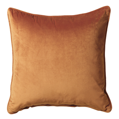 Terracotta orange velvet cushion