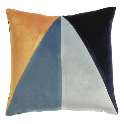 Triangle blue velvet cushion