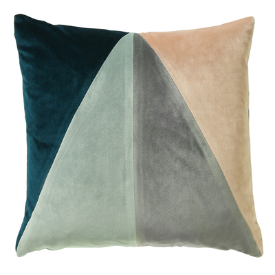 Triangle teal velvet cushion