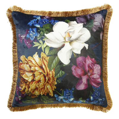 Floral fringe cushion dark