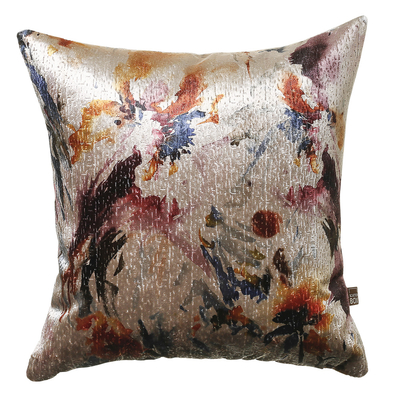 Oil painted flower blush velvet cushion