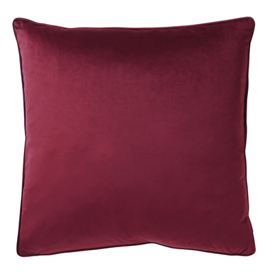 Berry red velvet cushion