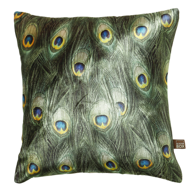 Peacock feather velvet cushion