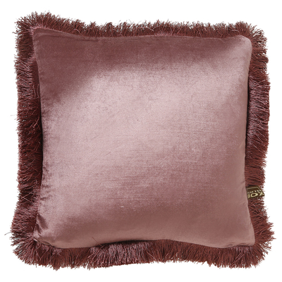Fringe antique rose velvet cushion