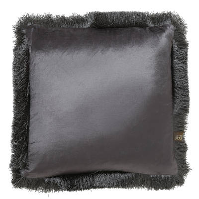Fringe grey velvet cushion