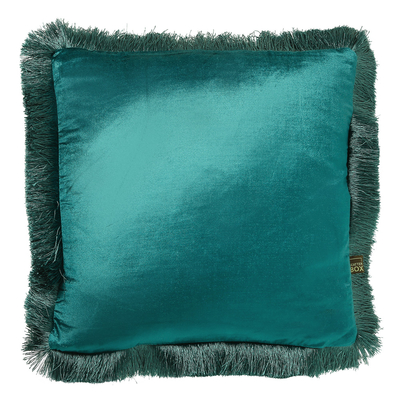 Fringe teal velvet cushion