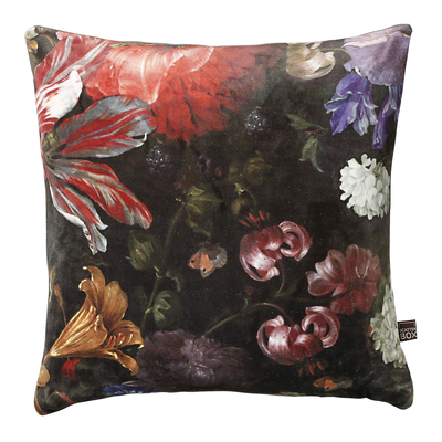Garden flowers black velvet cushion