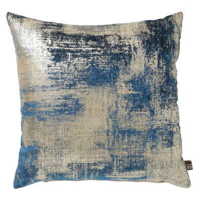 Metallic blue and silver velvet cushion