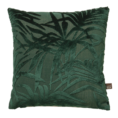 Palm green velvet cushion