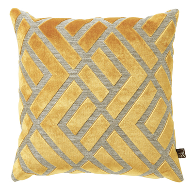 Geometric ochre velvet cushion