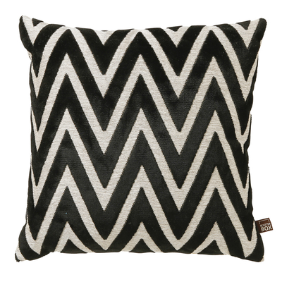 Geometric black velvet cushion