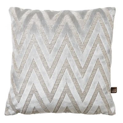 Geometric grey velvet cushion