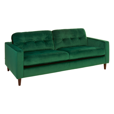 Bergen three seater sofa forest green velvet