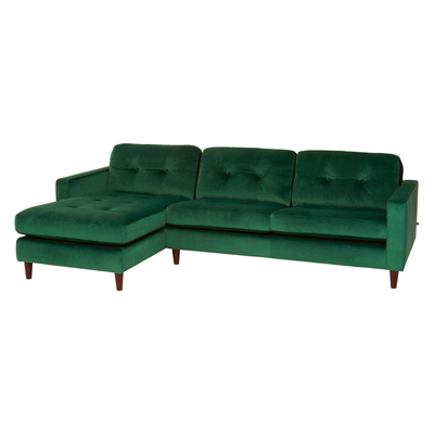 Bergen left hand corner sofa forest green velvet