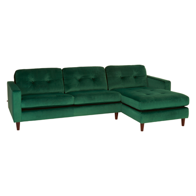 Bergen right hand corner sofa forest green velvet