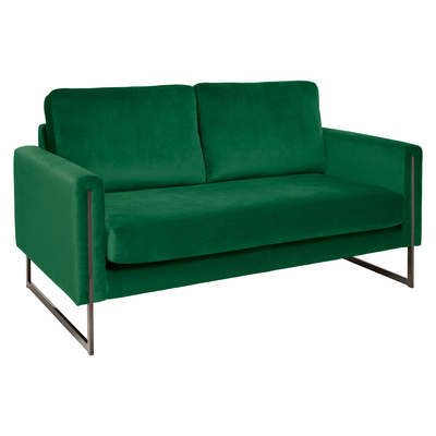 Bruges two seater sofa forest green velvet