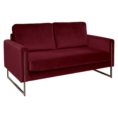 Bruges two seater sofa burgundy velvet