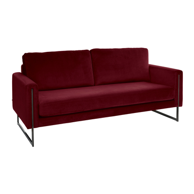 Bruges three seater sofa burgundy velvet