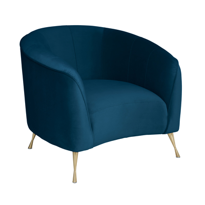 Andorra curve accent chair blue velvet