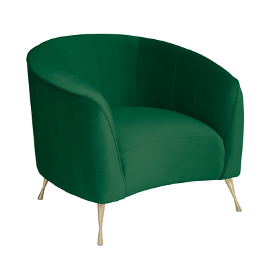Andorra curve accent chair forest green velvet