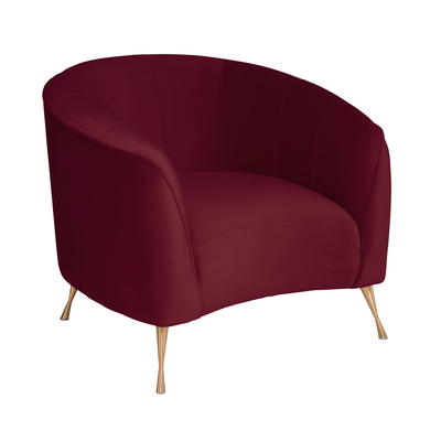Andorra curve accent chair burgundy velvet