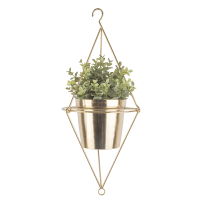 Pendere diamond hanging planter gold