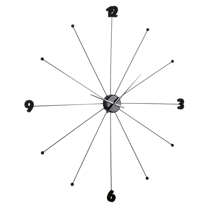 Spokes wall clock black extra large