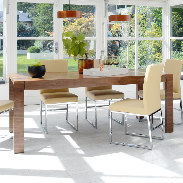 Double extending 6-10 seater dining table walnut