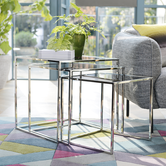 Cubic Nest Of Glass Side Tables Dwell