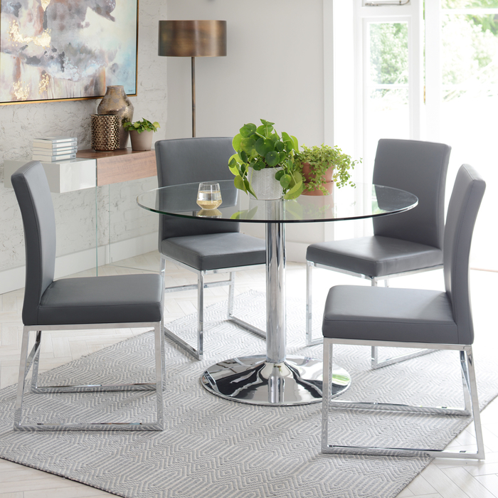 Palermo 4-5 seater dining table large clear